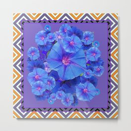 Purple Western Pattern Blue Morning Glory Floral Art Metal Print