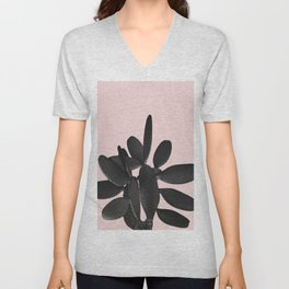 Black Blush Cactus #2 #plant #decor #art #society6 Unisex V-Neck