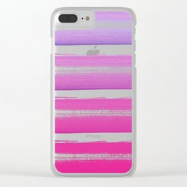 Simply hand painted pink and magenta stripes on white background  2 - Mix and Match Clear iPhone Case