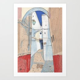 Somewhere in Morocco, Old Town Street Collage Cityscape Sketch Art Print