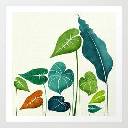 Rainforest Hike / tropical leaf collection Art Print