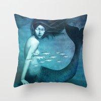 mermaid Throw Pillows featuring Mermaid by Christian Schloe