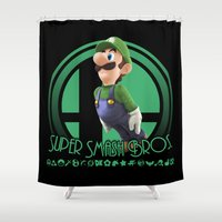luigi Shower Curtains featuring Luigi - Super Smash Bros. by Donkey Inferno