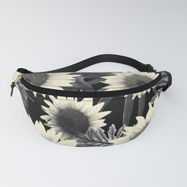 Tropical Sunflower Jungle Night Leaves Pattern #2 #tropical #decor #art #society6 Fanny Pack