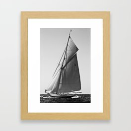Sailrace in open sea - vintage vessel of one mast in Port Mahon water - pedro cardona Framed Art Print