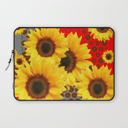 RED-YELLOW SUNFLOWERS GREY ABSTRACT Laptop Sleeve