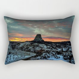 Devil's Tower, Black Hills, Wyoming Sunset Landscape Rectangular Pillow