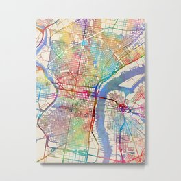 Philadelphia Pennsylvania City Street Map Metal Print
