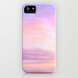 Pink Hues Sunset & Minimal Geometric Texture Pattern Overlay Home Goods Design iPhone Case
