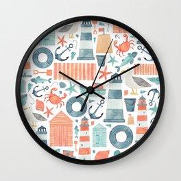 Nautical Watercolour Pattern! Wall Clock