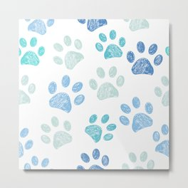 Blue colored paw print background Metal Print
