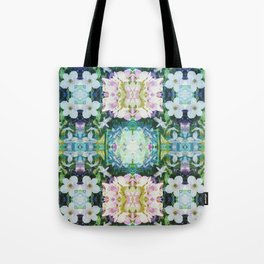 Blue Floral Kaleidoscope Tote Bag