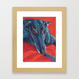 Greyhound on Red Framed Art Print