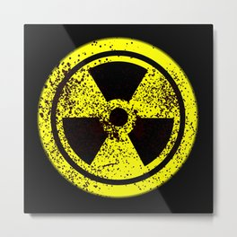 Caution Radioactive Metal Print
