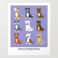pit bull Art Prints featuring American PIT BULL TERRIERS by Doggie Drawings