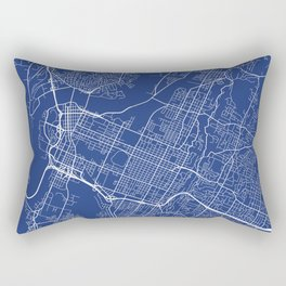 Chattanooga Map, USA - Blue Rectangular Pillow