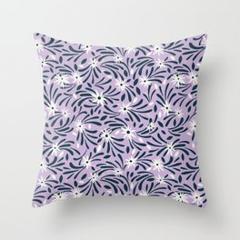 White flowers over a purple background Throw Pillow