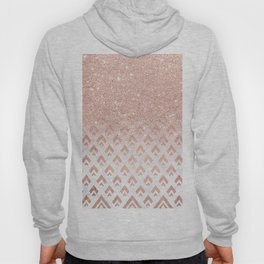 Faux rose gold glitter ombre rose gold foil triangles chevron geometric on white marble Hoody