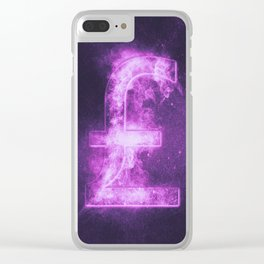 Pound sterling sign, Pound sterling Symbol. Monetary currency symbol. Abstract night sky background. Clear iPhone Case