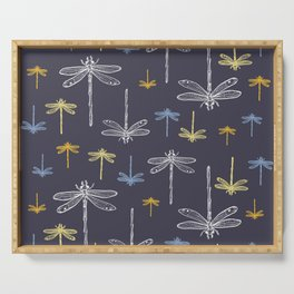 Dragonfly minimal_ Illuminating yellow & Inkwell blue night sky_drawing pattern Serving Tray