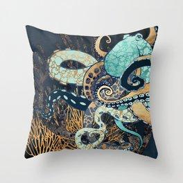 Metallic Octopus II Throw Pillow