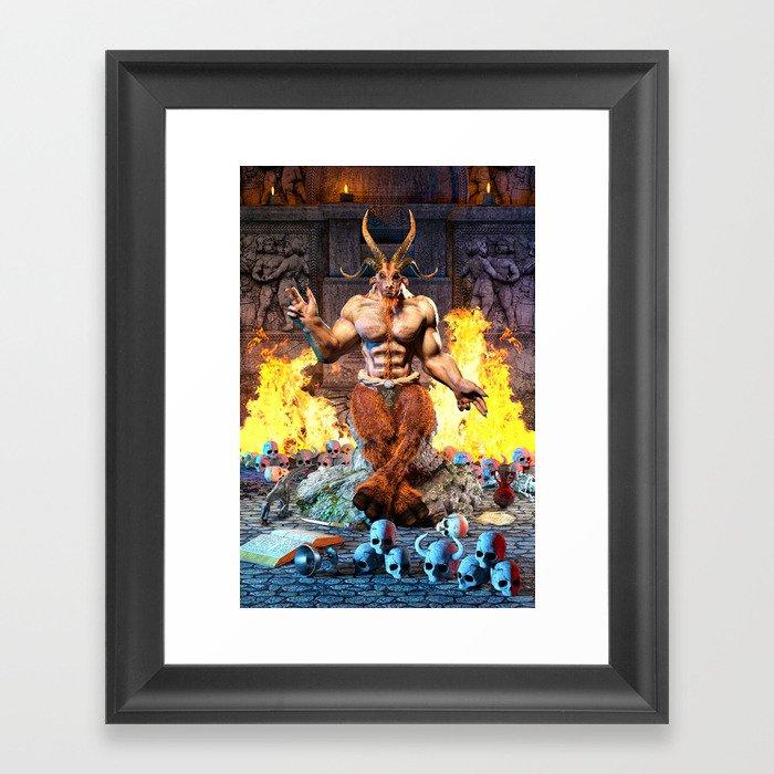 Sabbatic Goat Satanic Baphomet Framed Art Print by tropicaltoad