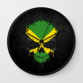 Flag of Jamaica on a Chaotic Splatter Skull Wall Clock