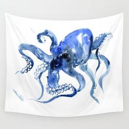 Navy Blue Octopus Artwork Wall Tapestry