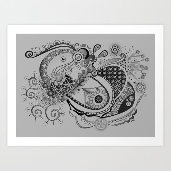 Ornate spring tangle, charcoal grey Art Print