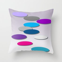 Cool Colors - Large Ovals - Digial Design - Pretty Colors Throw Pillow