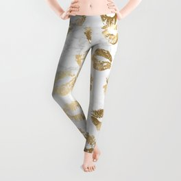 Fashion Lips Gold Lipstick on Marble Leggings
