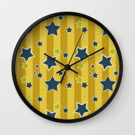 Blue stars on a yellow background Wall Clock