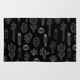 Cactus Silhouette White And Black Rug