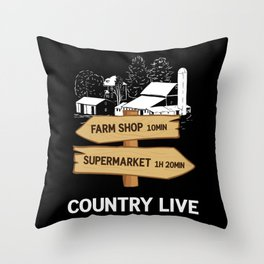 Village Country Life Signpost Hiking Throw Pillow