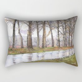 "Landscape Of A Road Fine Art Watercolor Painting  ""The Road Not Traveled"" Rectangular Pillow"