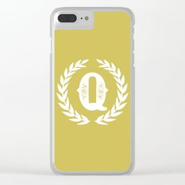 Mustard Yellow Monogram: Letter Q Clear iPhone Case