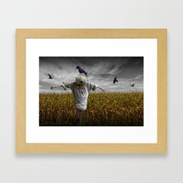 Scarecrow with Black Crows over a Cornfield Framed Art Print