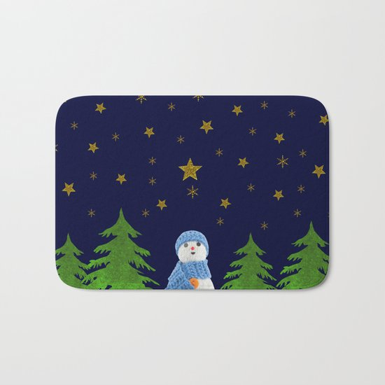 Sparkly gold stars, snowman and green tree Bath Mat