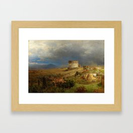 Via Appia with the Tomb of Caecilia Metella in Roman Italian Countryside by Oswald Achenbach Framed Art Print