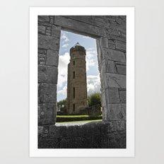 Tower Through The Rain  Art Print