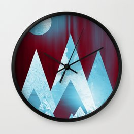 ICY MOUNTAINS UNDER A BLOOD RED WINTER MOON Wall Clock