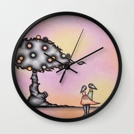 Dark Lovers By The Dark Tree Wall Clock