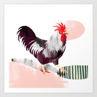 rooster Art Prints featuring Rooster by Claudia Voglhuber
