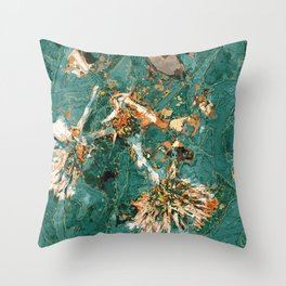 Macelas - Small flowers digitally stylized green marble Throw Pillow
