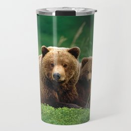 Spectecular Grizzly Bear Mother With Adorable Two Cubs In Meadow Ultra HD Travel Mug