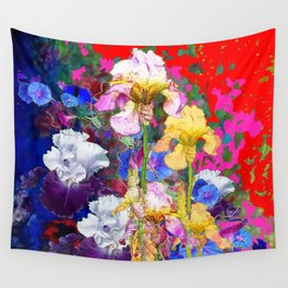 Decorative Spring  Garden Yellow & Pink Iris in Blue-Red Wall Tapestry