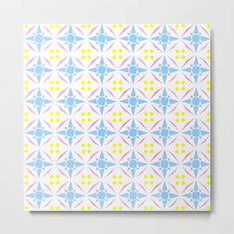 symmetric patterns 94- gentle star pink and blue Metal Print