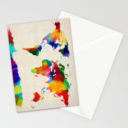 Map of the World Map Painting Stationery Cards