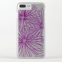 Abstract Pink Daisy Clear iPhone Case