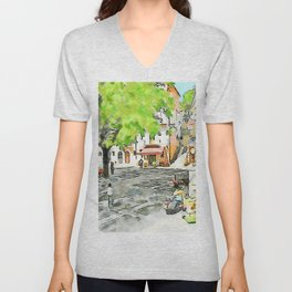 Tortora: man, scooter and child on a bicycle Unisex V-Neck